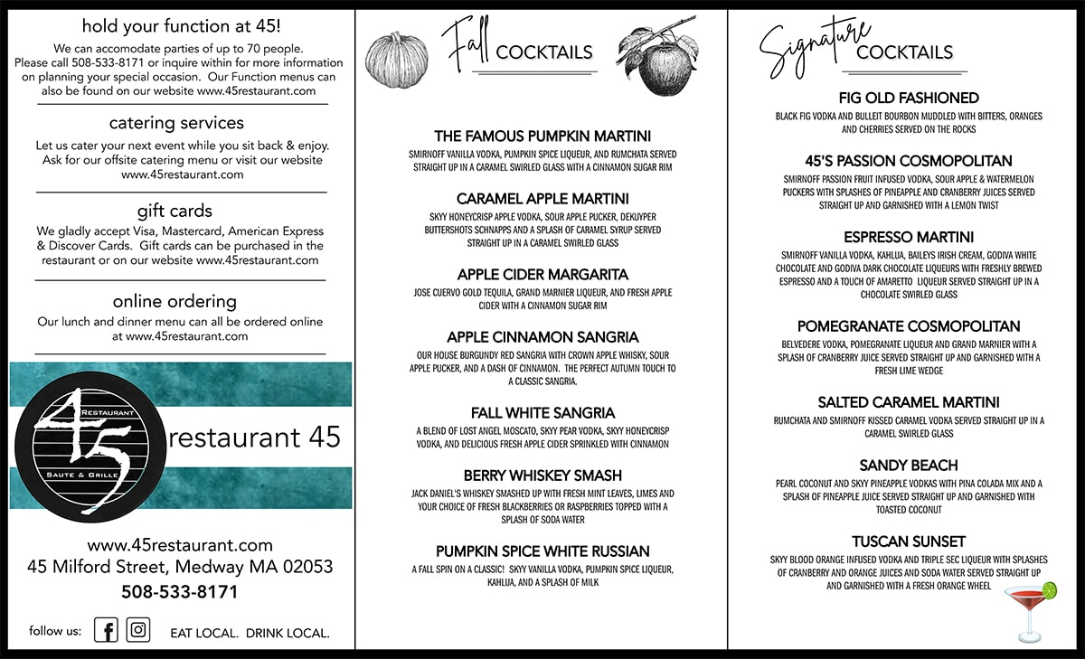 Restaurant 45 Condensed Menu 09-08-20